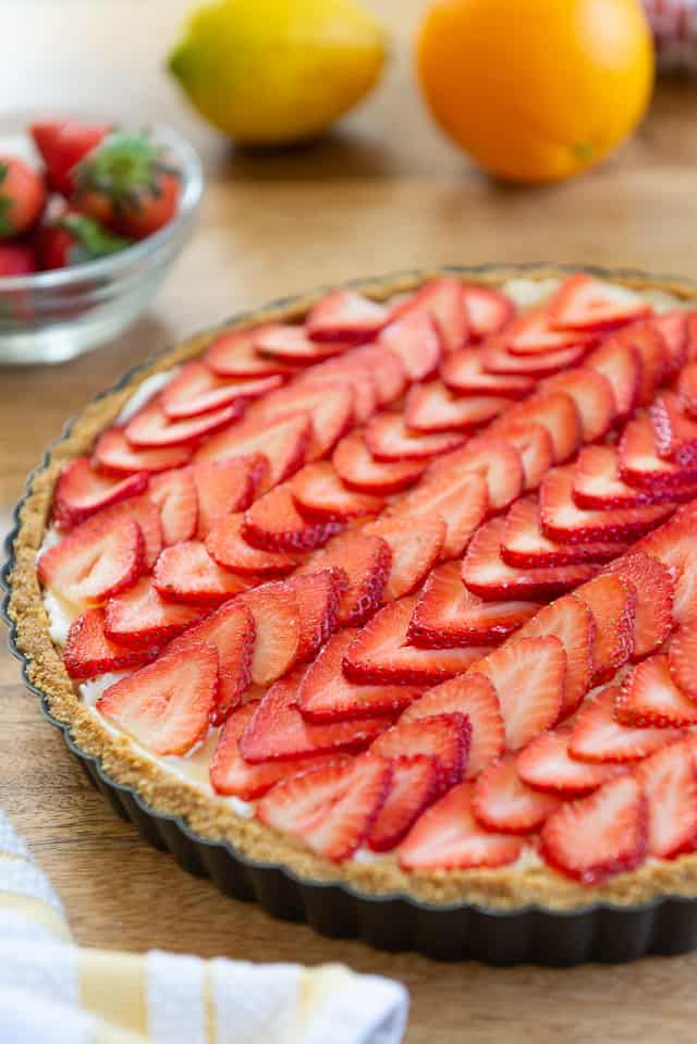Strawberry Tart - Made with a Graham Cracker Crust, Mascarpone Filling, and Sliced Strawberries