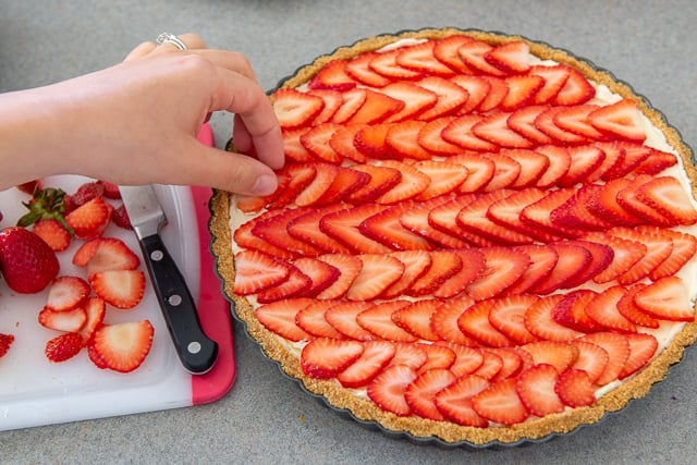 Fresh Strawberry Tart - Adding Sliced Strawberries On Top