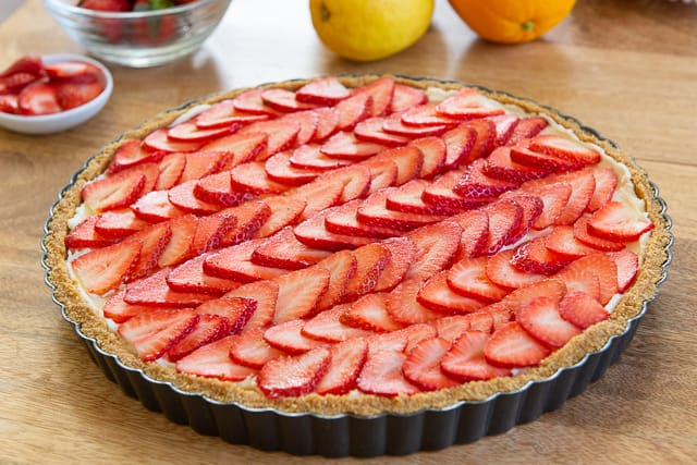 Strawberry Lemon Tart - With Fresh Strawberries and Lemon Zest Mascarpone Filling
