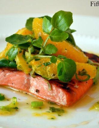 Agave Brushed Salmon with Orange Watercress Salad