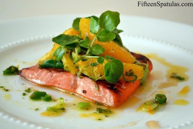 Salmon with Orange Watercress Salad