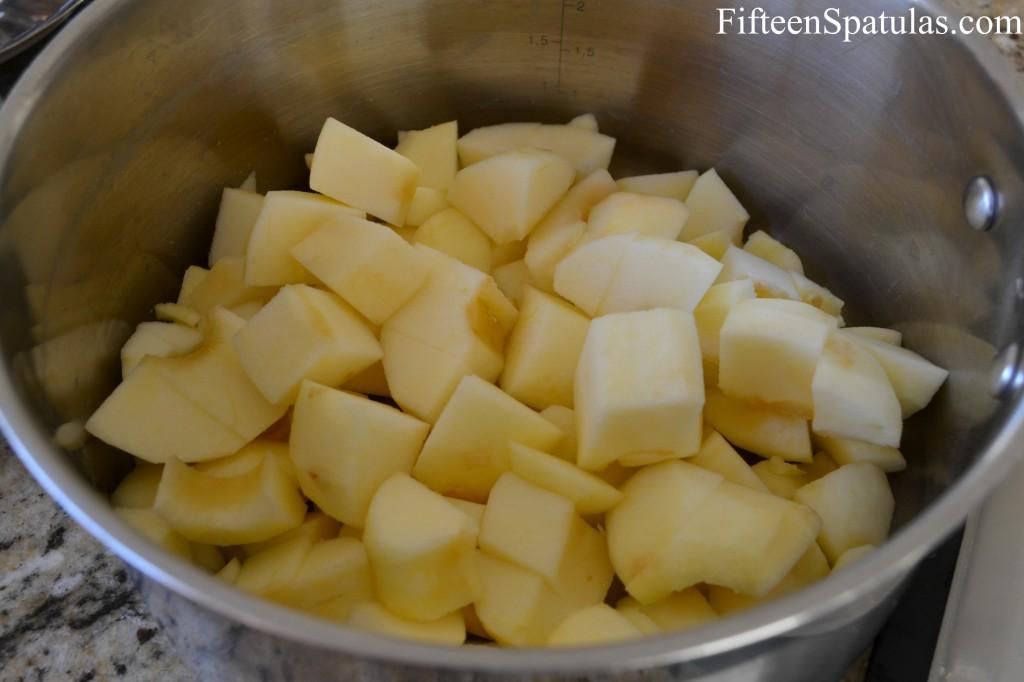 Chopped Apples in a Saucepan