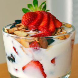 Lavender Honey Yogurt - With Berries and Almonds in Mini Glass Ramekin