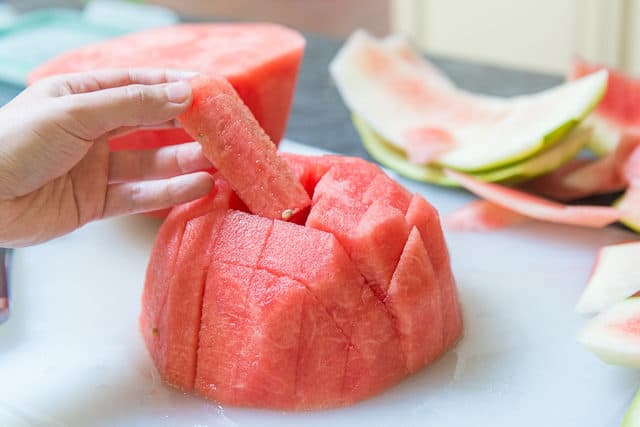 Ripe Watermelon cut into Sticks
