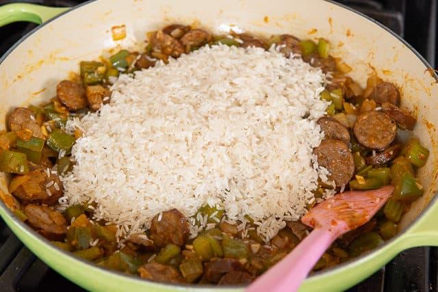 Long Grain White Rice Added to Vegetables