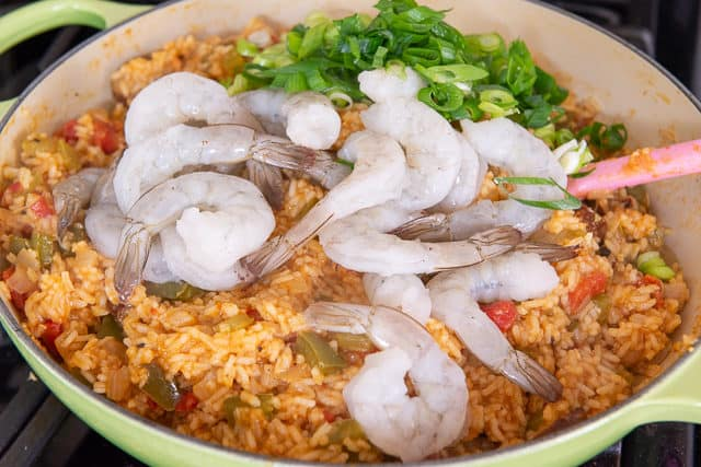 Shrimp Jambalaya with Scallions and Sausage