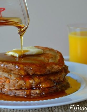 Spiced Carrot Pancakes with Maple Syrup