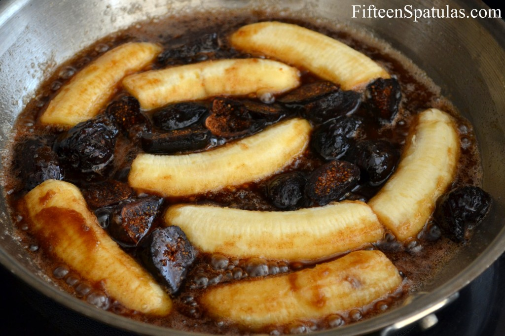 Cooking Bananas and Figs in Butter Sugar Sauce