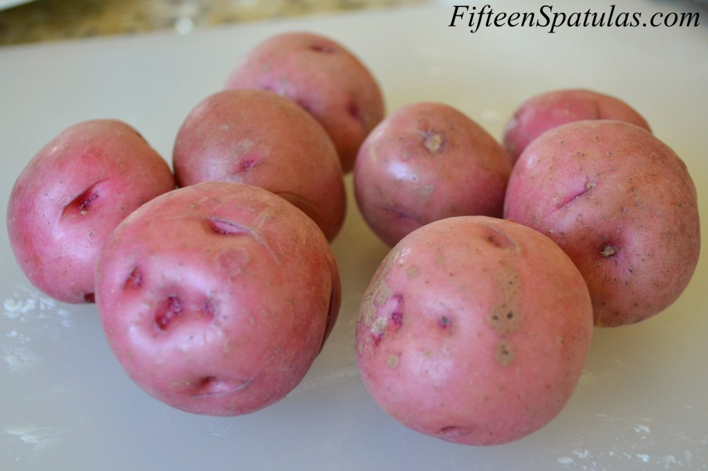 Small Red Potatoes on Cutting Board