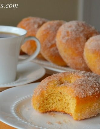 Cinnamon Sugar Tossed Sweet Potato Doughnuts