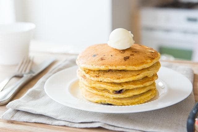 Stack of Pancakes on Plate with butter On Top