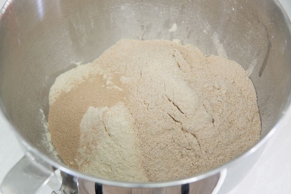 All Purpose Flour, Whole wheat Flour, yeast in a bowl