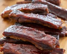 Spare Ribs Plated on Wooden Board