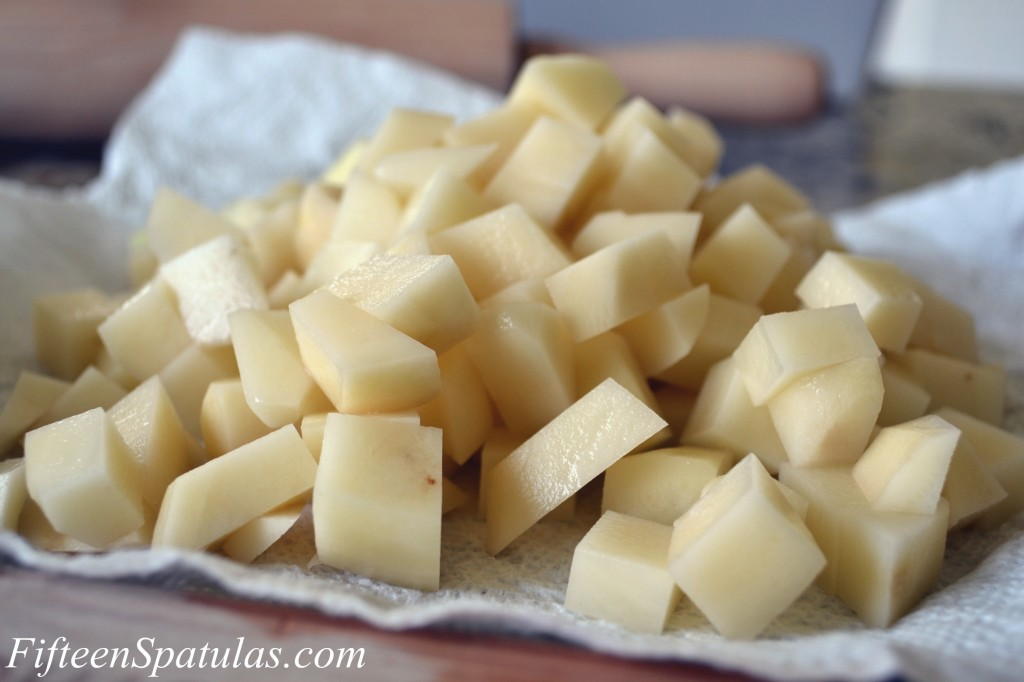 Chopped Russet Potatoes in a Pile