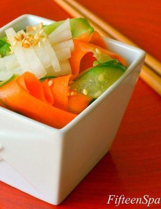 Asian Carrot and Cucumber Ribbon Salad