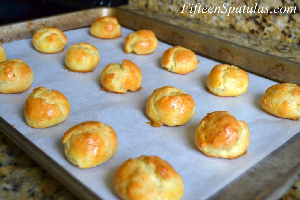 Gougeres - Baked in Rows on Sheet Pan