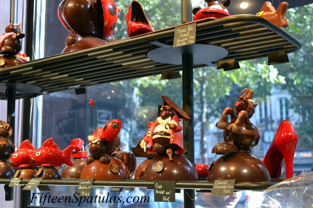 Chocolate Figurines in Window of Shop in Paris