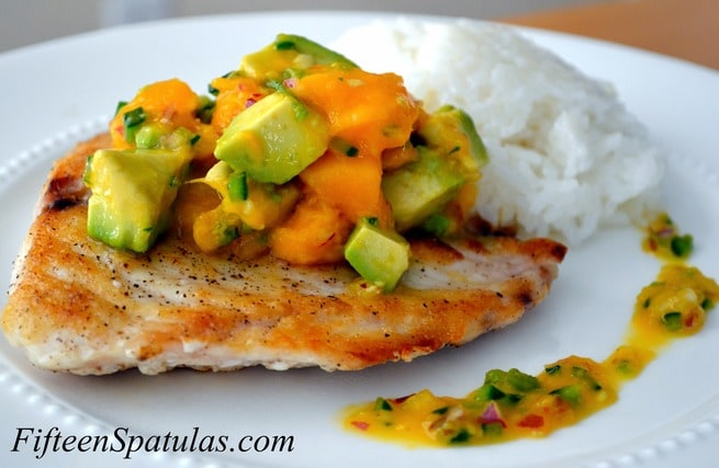 Seared snapper with mango avocado salsa fifteen spatulas for Snapper fish recipes