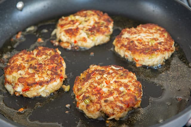 Fried Crab Cakes in Nonstick Skillet with Golden Edges