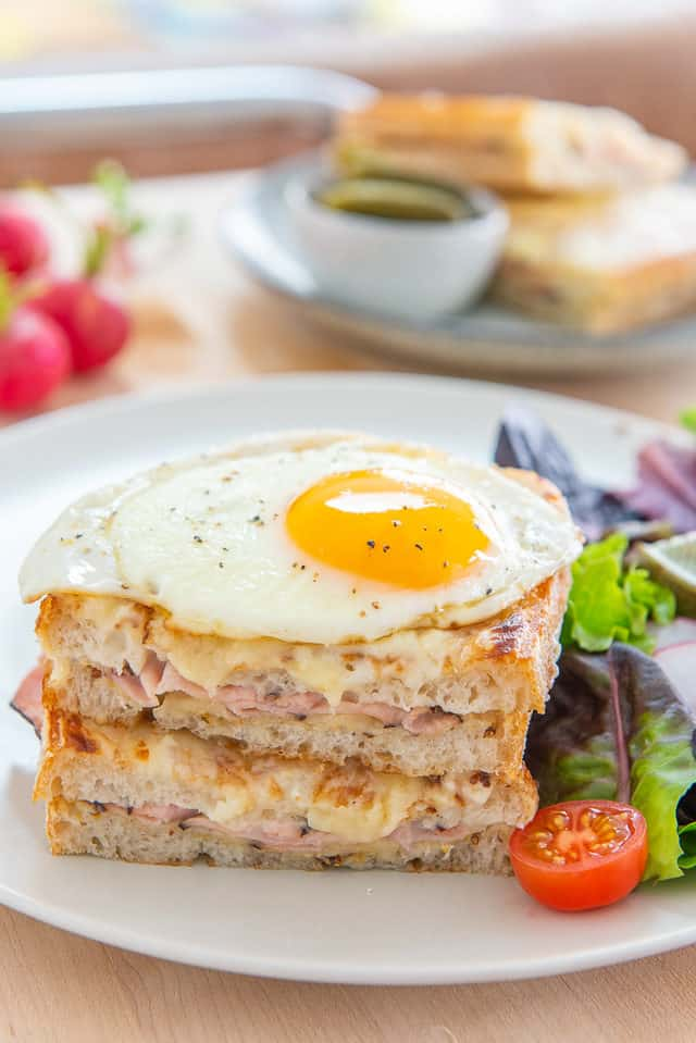 Croque Madame - On a Plate with Side Salad