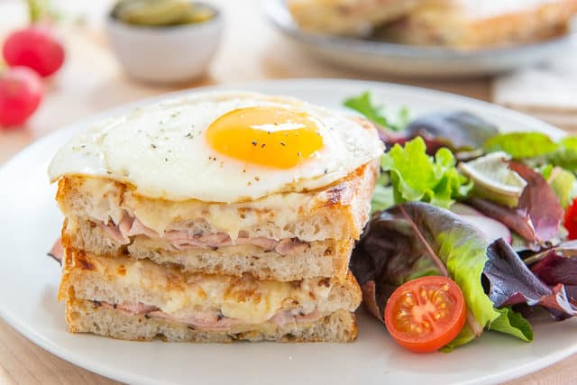 Croque Madame Sandwich - on Plate with Salad
