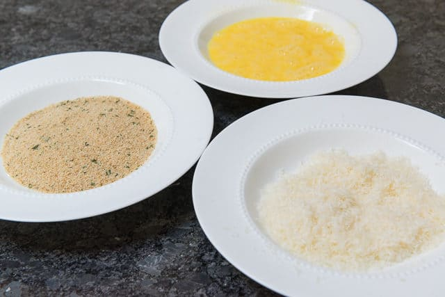 Dipping Bowls with Parmesan Cheese, Egg Wash, and Seasoned Bread Crumbs