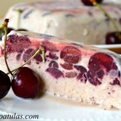 Cherry Semifreddo - Sliced and Served on White Plate with Fresh Cherries