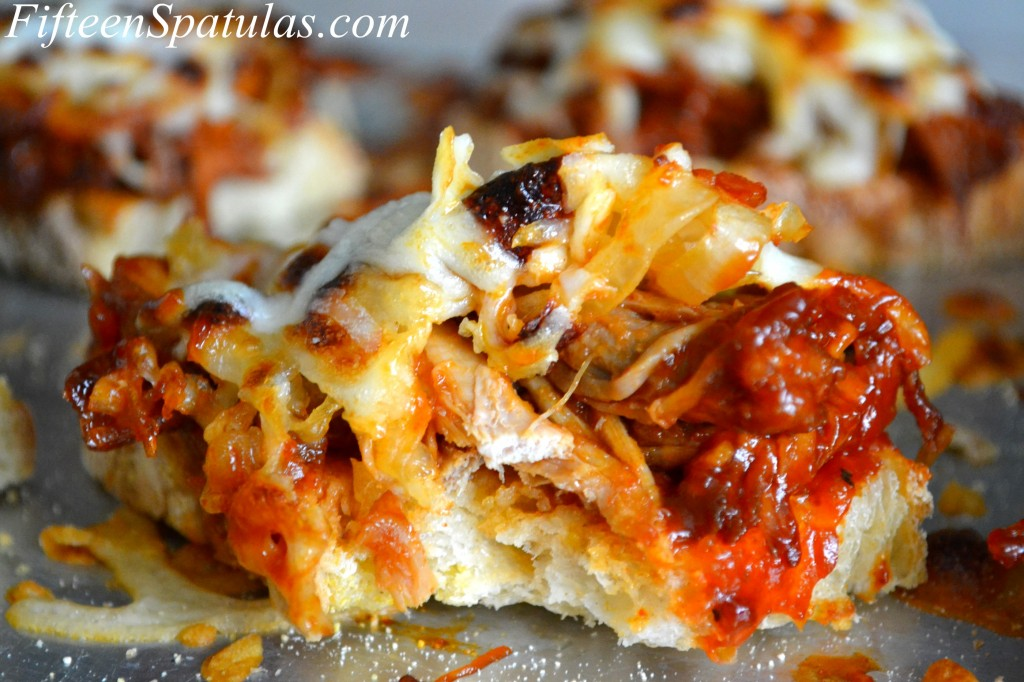 Pulled Pork Bruschetta with Caramelized Onions and Mozzarella On Tray - Pulled Pork Appetizers