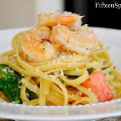 Linguine with Shrimp, Tomatoes, and Spinach - And Parmesan Dusted on Top