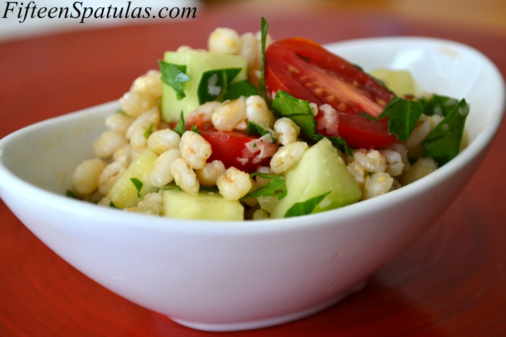 Barley Salad - With Tomatoes, Cucumbers, and Herbs in White Bowl
