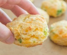 Cheesy Cheddar Scallion Biscuits! An all-butter biscuit (no shortening) that's tender, soft, and flaky.