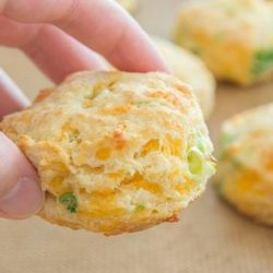 Holding A Cheddar Scallion Biscuit Over Parchment Paper