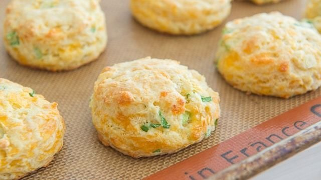 Soft and fluffy Cheddar Scallion Biscuits