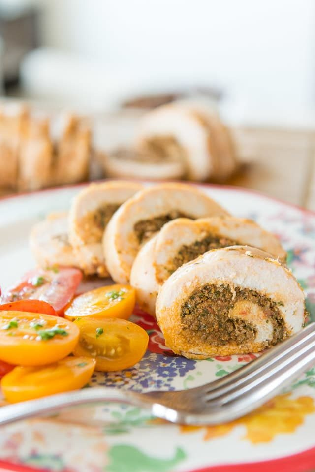 Chicken Roulade filled with Sundried Tomato Pesto - One of my favorite dinners!