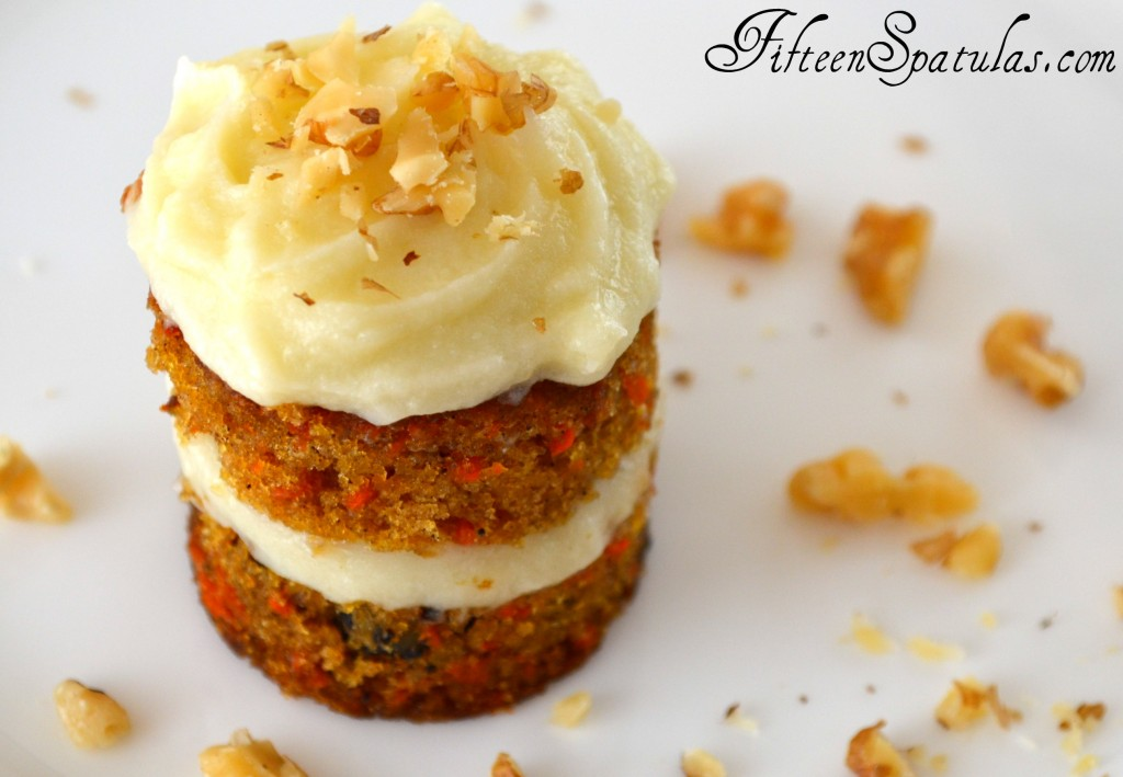 Mini Carrot Cake on White Platter with Mascarpone Frosting and Walnuts to Garnish