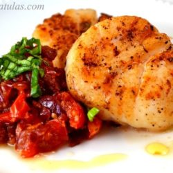 u10 Scallops - On a Plate with Scoop of Bacon Jam and Basil Chiffonade
