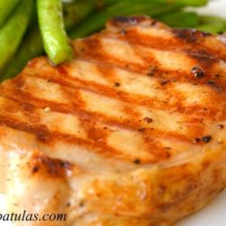 Sweet Tea Brined Pork Chop - On Plate with Grill Marks and Green Beans