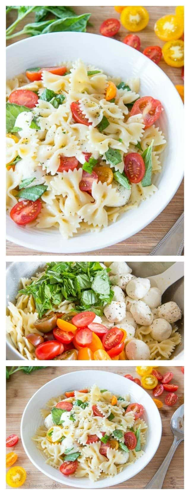 This Caprese Pasta Salad has a classic combination of fresh tomatoes, basil, and mozzarella cheese, tied together with a simple vinaigrette. Perfect for summer potlucks and picnics!