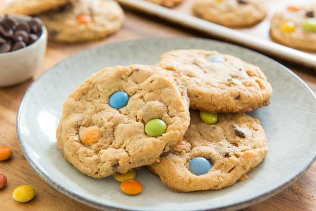 Monster Cookies Recipe Presented on Blue Plate with M&Ms
