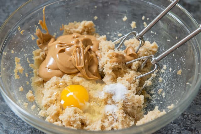 Creamed Butter and Sugar, Peanut Butter, and Egg in Bowl