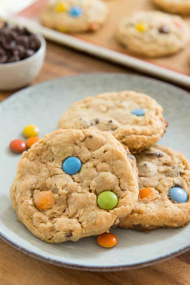 Monster Cookies on Blue Plate with M&Ms