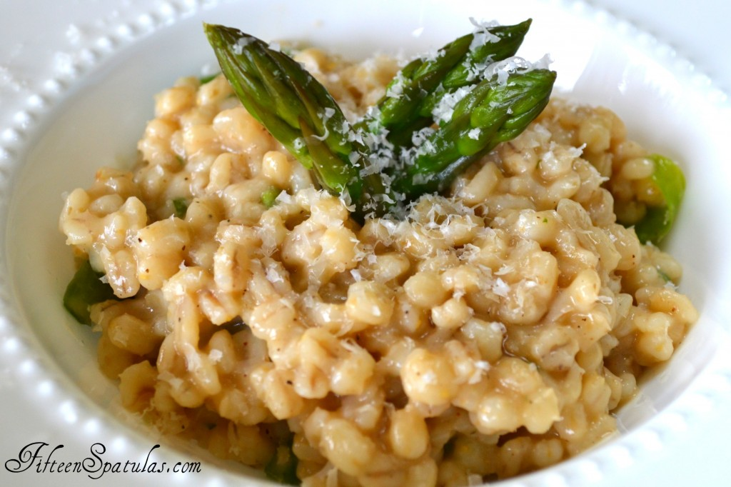 Barley Risotto - With Asparagus and Parmesan in White Bowl