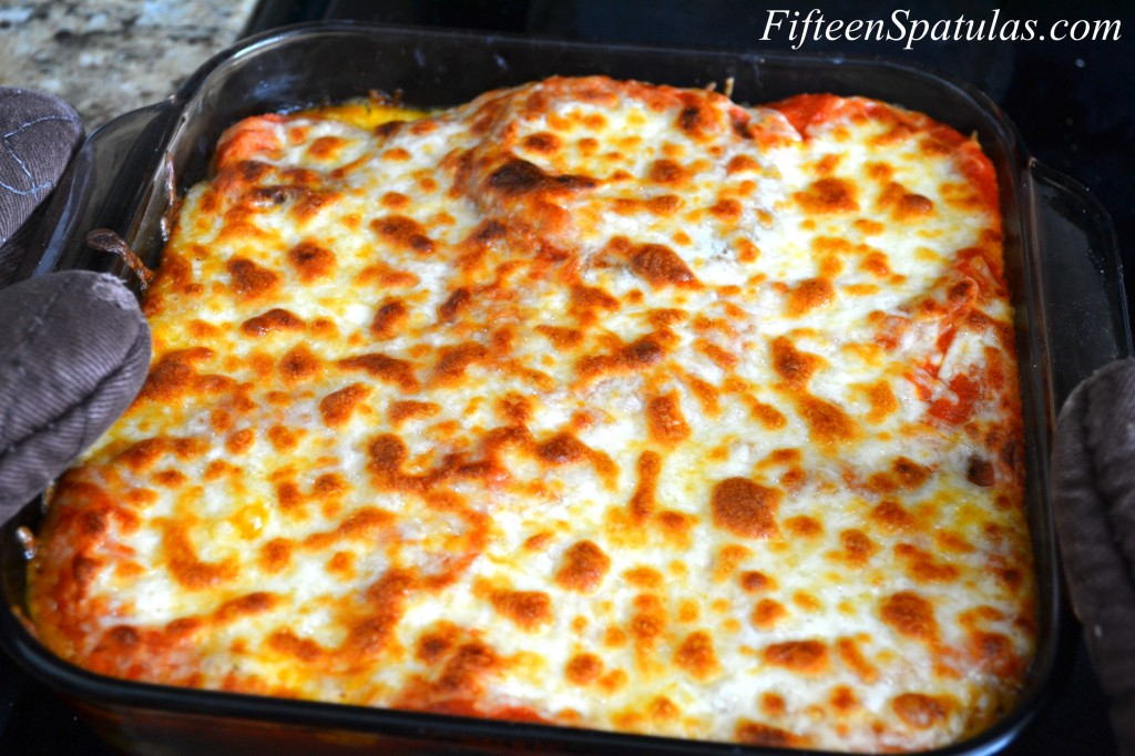 Eggplant Parm Stacks Recipe - Baked in Glass Baking Dish with Browned Cheese on Top