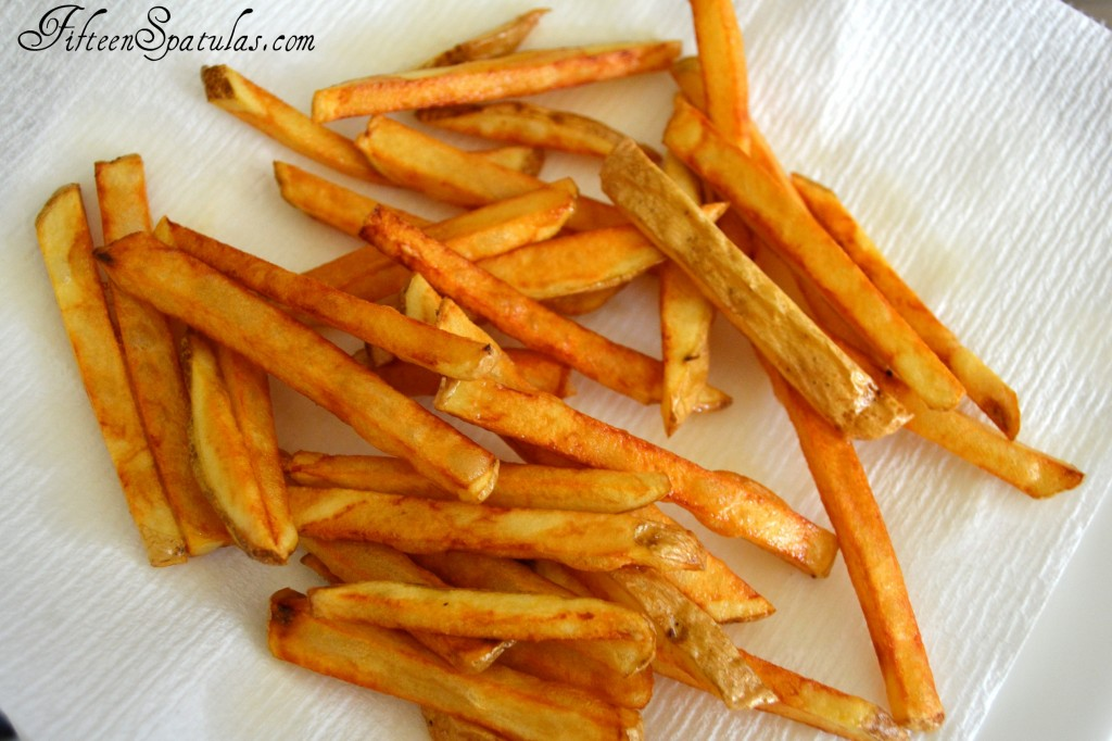 Deep Fried French Fries on Paper Towel to Drain