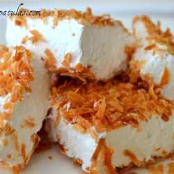 Coconut Marshmallows - Cut Into Squares and Piled on White Dish