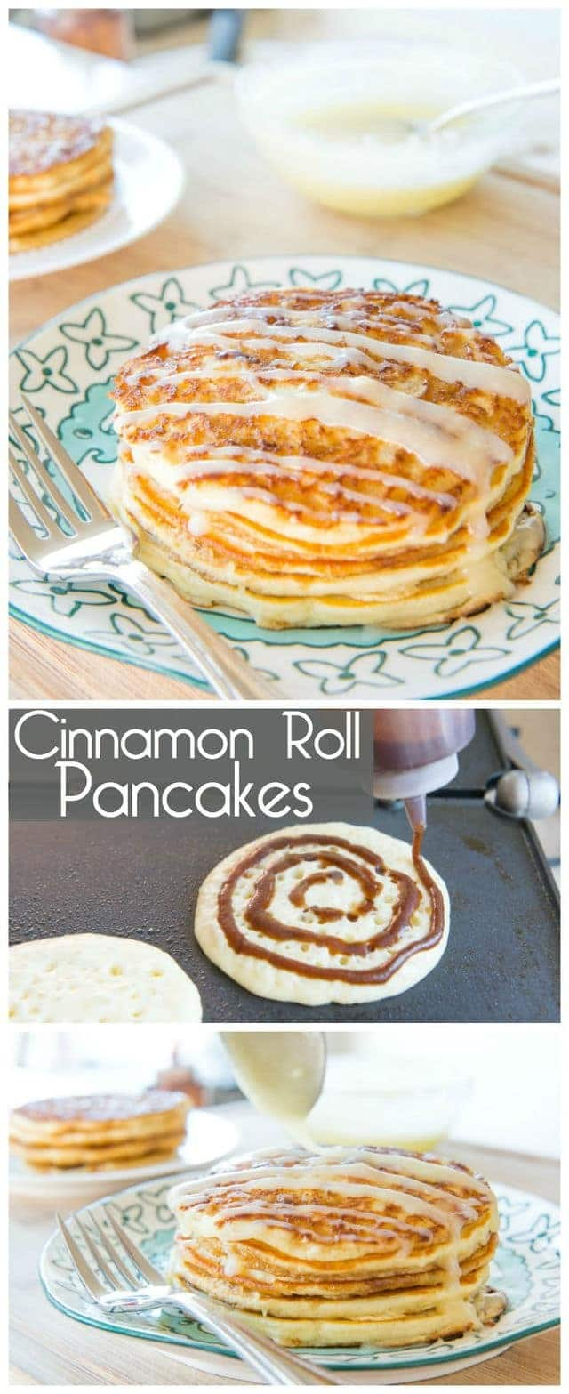 Photo Collage of Making Cinnamon Roll Pancakes