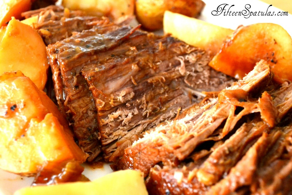 Braised Brisket Recipe On Dish with Potatoes