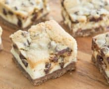 These Chocolate Chip Cookie Dough Cheesecake Bars are easy to make and total crowdpleasers!