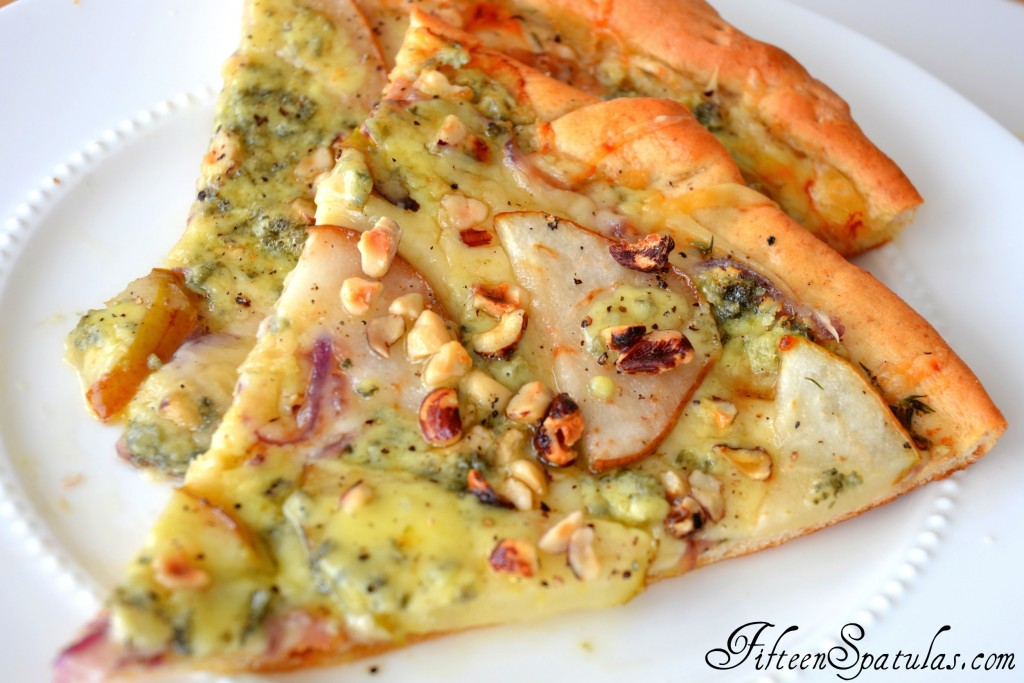 Pear Gorgonzola Pizza - Two Slices on White Plate