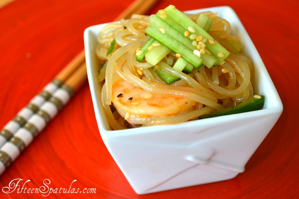 Sesame Noodles - in White Takeout Container with Shrimp and Cucumber